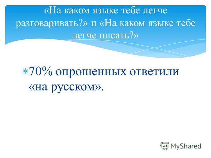 70% опрошенных ответили «на русском». «На каком языке тебе легче разговаривать?» и «На каком языке тебе легче писать?»