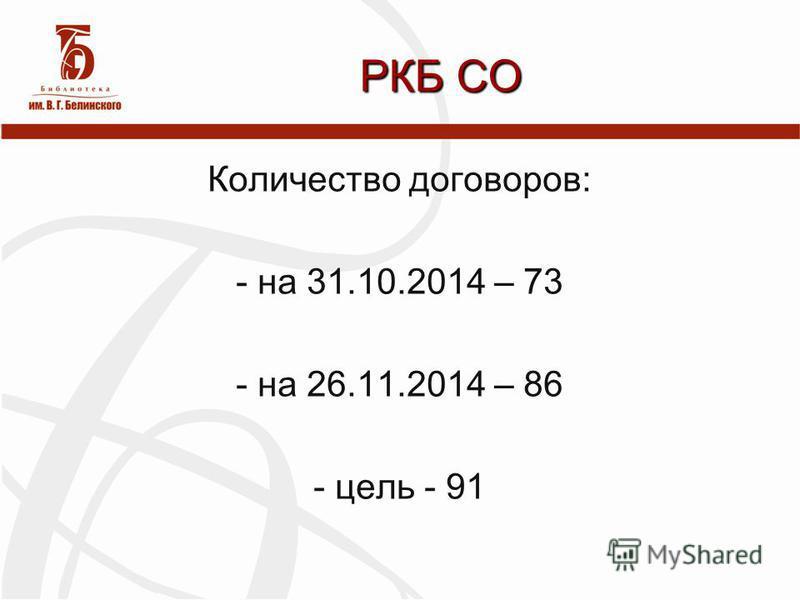 Количество договоров: - на 31.10.2014 – 73 - на 26.11.2014 – 86 - цель - 91 РКБ СО