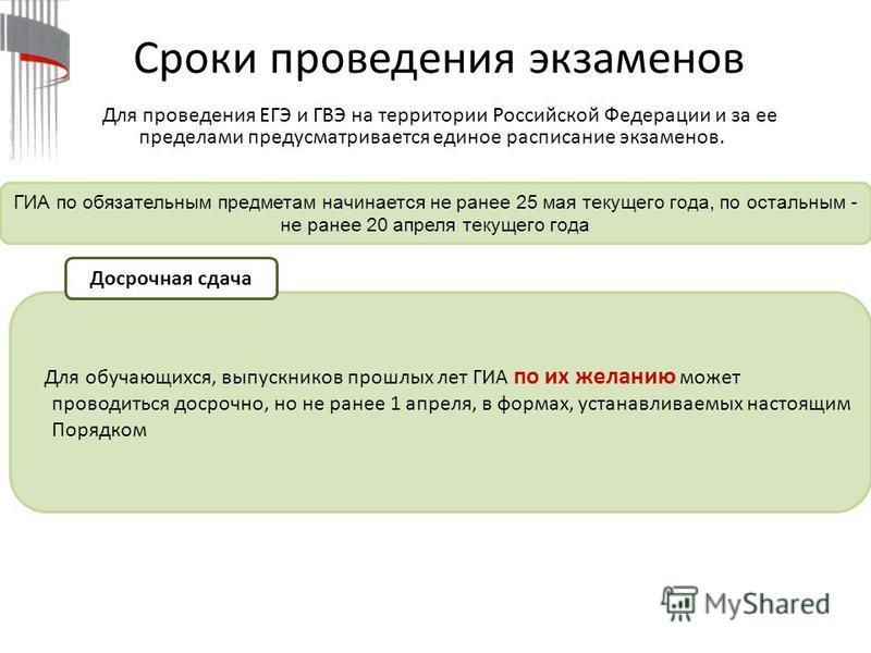 Сроки проведения экзаменов ГИА по обязательным предметам начинается не ранее 25 мая текущего года, по остальным - не ранее 20 апреля текущего года Для проведения ЕГЭ и ГВЭ на территории Российской Федерации и за ее пределами предусматривается единое