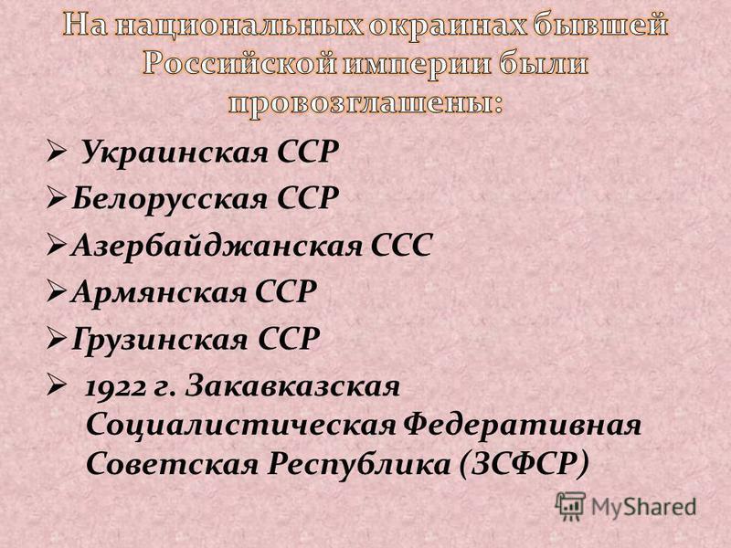 Украинская ССР Белорусская ССР Азербайджанская ССС Армянская ССР Грузинская ССР 1922 г. Закавказская Социалистическая Федеративная Советская Республика (ЗСФСР)