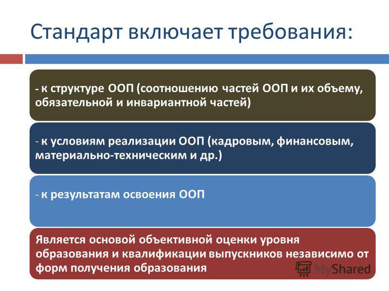 Стандарт включает требования : - к структуре ООП ( соотношению частей ООП и их объему, обязательной и инвариантной частей ) - к условиям реализации ООП ( кадровым, финансовым, материально - техническим и др.) - к результатам освоения ООП Является осн