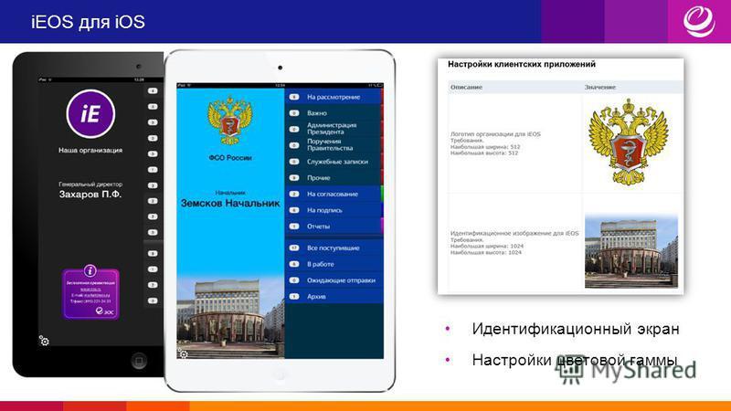 iEOS для iOS Идентификационный экран Настройки цветовой гаммы