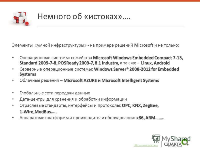 Элементы «умной инфраструктуры» - на примере решений Microsoft и не только: Microsoft Windows Embedded Compact 7-13, Standard 2009-7-8, POSReady 2009-7, 8.1 Industry, Linux, Android Операционные системы: семейства Microsoft Windows Embedded Compact 7