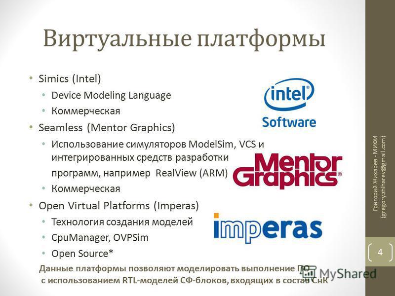 Виртуальные платформы Simics (Intel) Device Modeling Language Коммерческая Seamless (Mentor Graphics) Использование симуляторов ModelSim, VCS и интегрированных средств разработки программ, например RealView (ARM) Коммерческая Open Virtual Platforms (