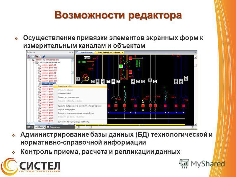 Возможности редактора Осуществление привязки элементов экранных форм к измерительным каналам и объектам Администрирование базы данных (БД) технологической и нормативно-справочной информации Контроль приема, расчета и репликации данных