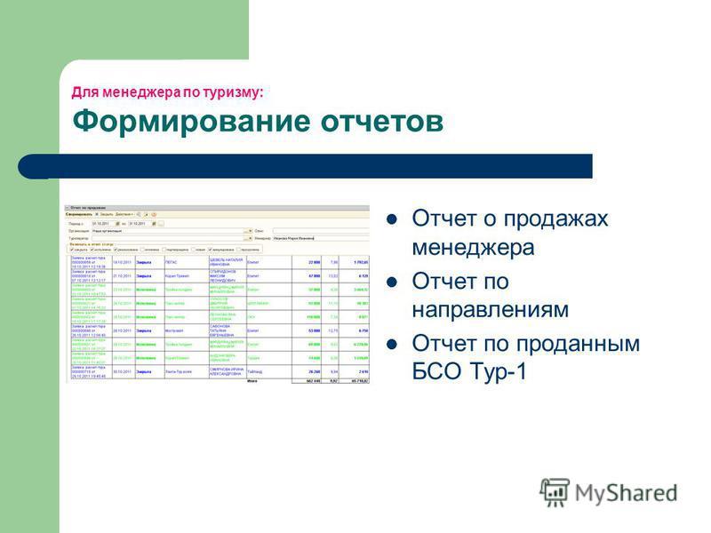 Для менеджера по туризму: Формирование отчетов Отчет о продажах менеджера Отчет по направлениям Отчет по проданным БСО Тур-1