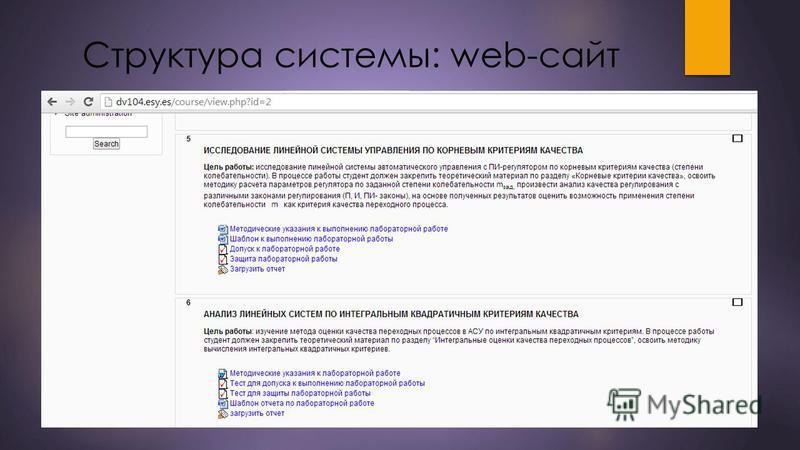 Структура системы: web-сайт