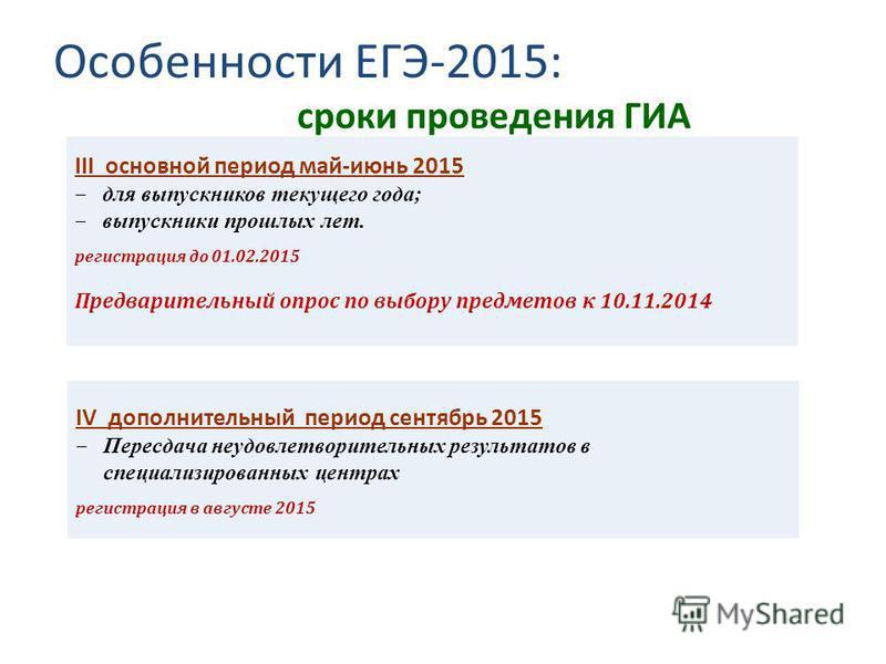 Особенности ЕГЭ-2015: сроки проведения ГИА III основной период май-июнь 2015 для выпускников текущего года; выпускники прошлых лет. регистрация до 01.02.2015 Предварительный опрос по выбору предметов к 10.11.2014 IV дополнительный период сентябрь 201