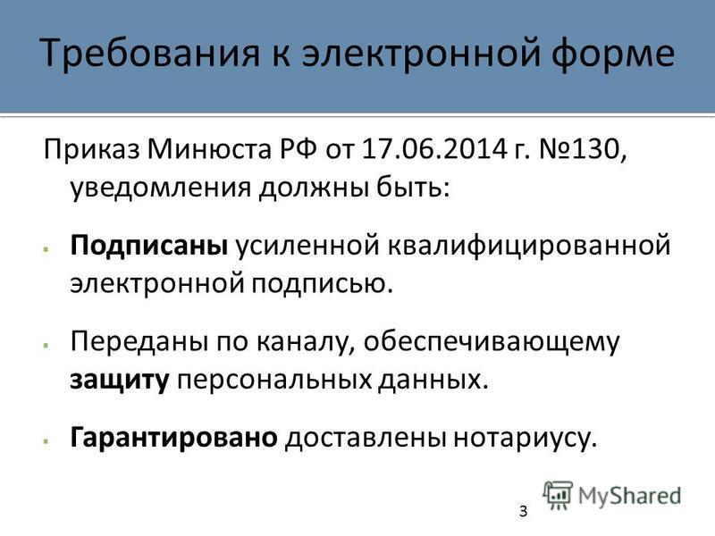 Требования к электронной форме Приказ Минюста РФ от 17.06.2014 г. 130, уведомления должны быть: Подписаны усиленной квалифицированной электронной подписью. Переданы по каналу, обеспечивающему защиту персональных данных. Гарантировано доставлены нотар