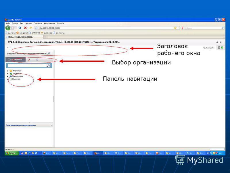Выбор организации Панель навигации Заголовок рабочего окна