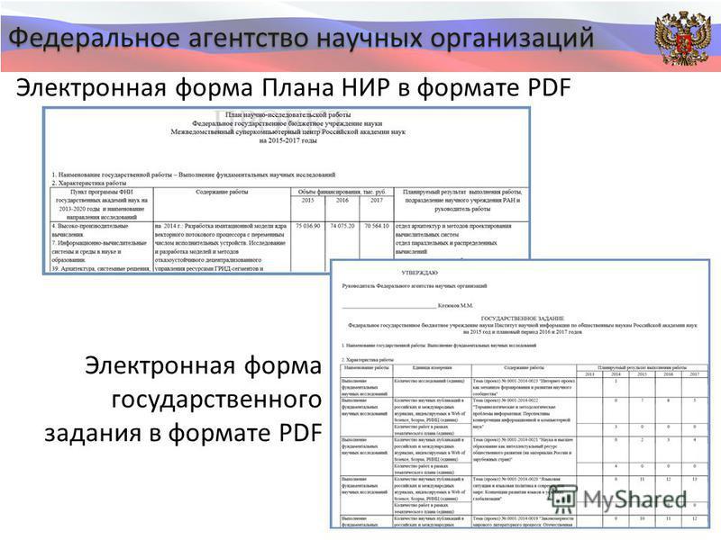 Федеральное агентство научных организаций Электронная форма Плана НИР в формате PDF Электронная форма государственного задания в формате PDF