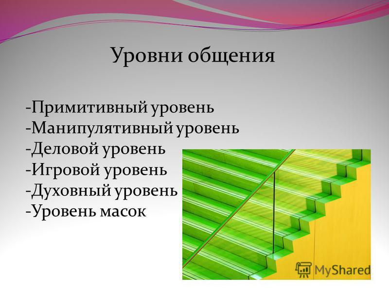 Уровни общения -Примитивный уровень -Манипулятивный уровень -Деловой уровень -Игровой уровень -Духовный уровень -Уровень масок