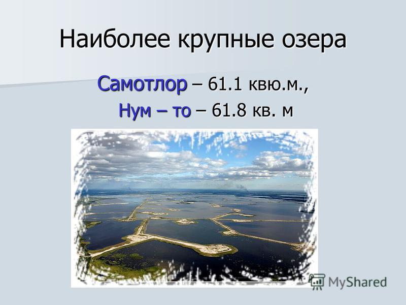 Наиболее крупные озера Самотлор – 61.1 квю.м., Нум – то – 61.8 кв. м Нум – то – 61.8 кв. м