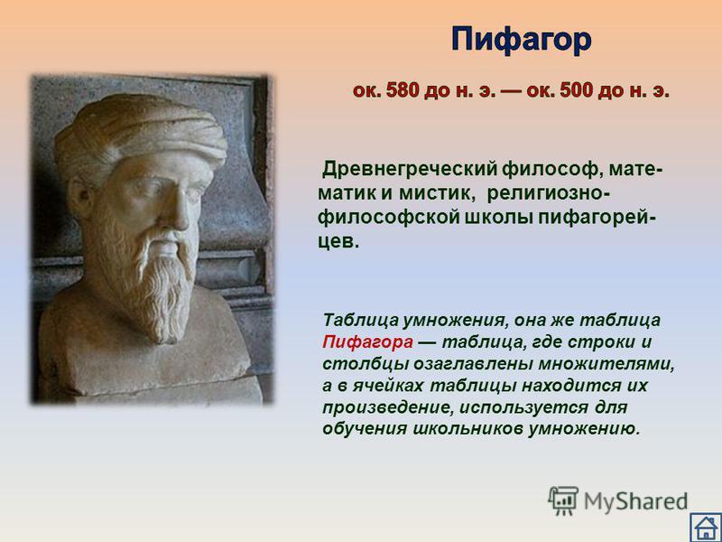 Древнегреческий философ, мате- матик и мистик, религиозно- философской школы пифагорей- цев. Таблица умножения, она же таблица Пифагора таблица, где строки и столбцы озаглавлены множителями, а в ячейках таблицы находится их произведение, используется