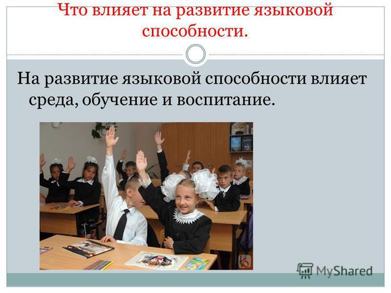 Что влияет на развитие языковой способности. На развитие языковой способности влияет среда, обучение и воспитание.