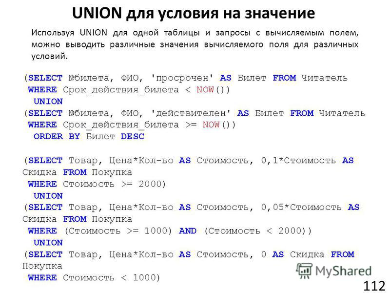 UNION для условия на значение 112 (SELECT билета, ФИО, 'просрочен' AS Билет FROM Читатель WHERE Срок_действия_билета < NOW()) UNION (SELECT билета, ФИО, 'действителен' AS Билет FROM Читатель WHERE Срок_действия_билета >= NOW()) ORDER BY Билет DESC Ис
