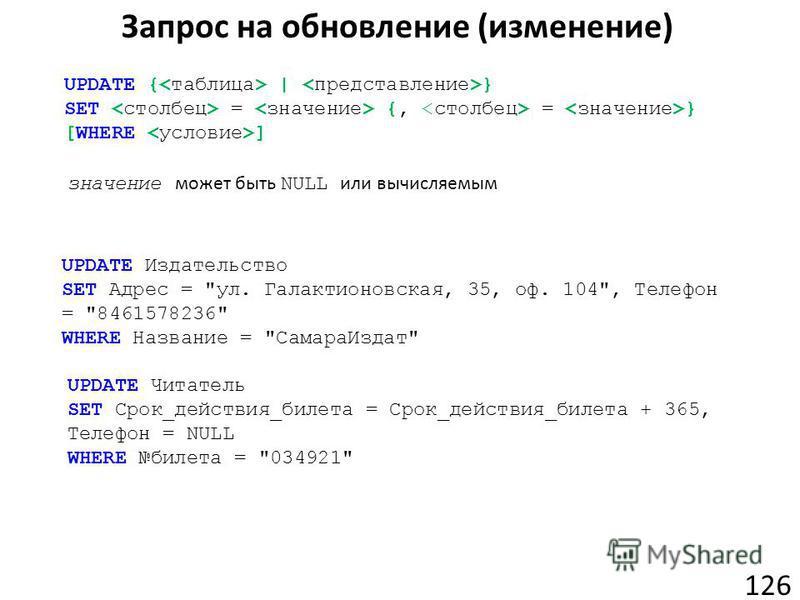 Запрос на обновление (изменение) 126 UPDATE { | } SET = {, = } [WHERE ] значение может быть NULL или вычисляемым UPDATE Издательство SET Адрес =