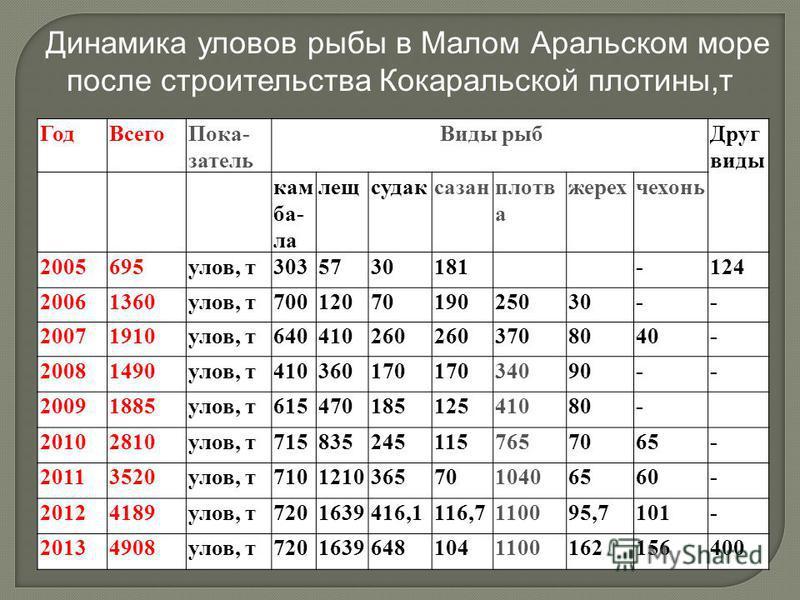 Динамика уловов рыбы в Малом Аральском море после строительства Кокаральской плотины,т ГодВсегоПока затель Виды рыбДруг виды кам ба ла лещсудаксазанплотв а жерехчехонь 2005695улов, т3035730181 -124 20061360улов, т7001207019025030-- 20071910улов, т6