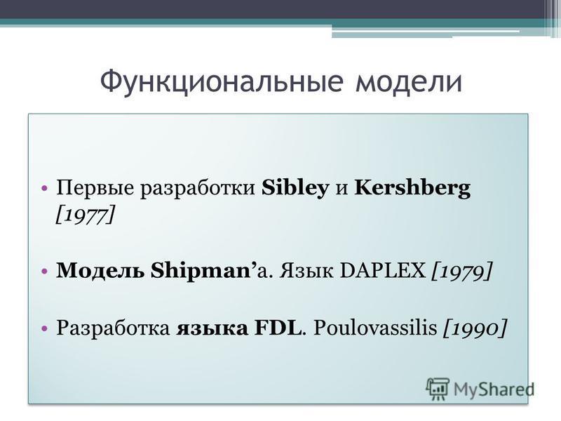 Функциональные модели Первые разработки Sibley и Kershberg [1977] Модель Shipmanа. Язык DAPLEX [1979] Разработка языка FDL. Poulovassilis [1990] Первые разработки Sibley и Kershberg [1977] Модель Shipmanа. Язык DAPLEX [1979] Разработка языка FDL. Pou