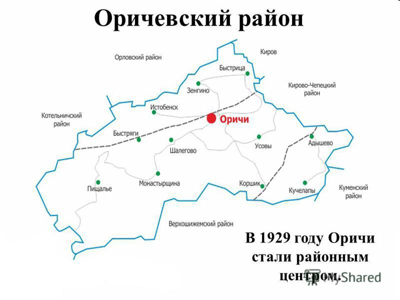 Оричевский район В 1929 году Оричи стали районным центром.