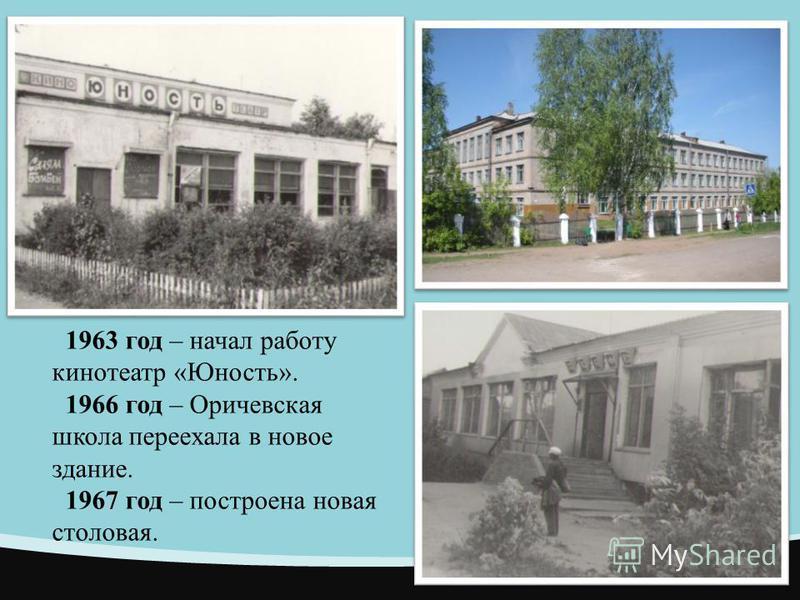 1963 год – начал работу кинотеатр «Юность». 1966 год – Оричевская школа переехала в новое здание. 1967 год – построена новая столовая.