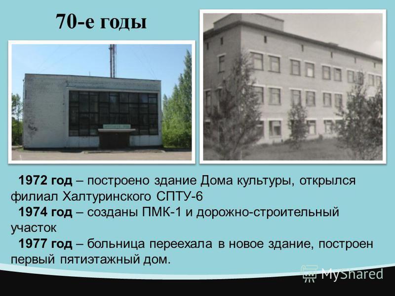 70-е годы 1972 год – построено здание Дома культуры, открылся филиал Халтуринского СПТУ-6 1974 год – созданы ПМК-1 и дорожно-строительный участок 1977 год – больница переехала в новое здание, построен первый пятиэтажный дом.