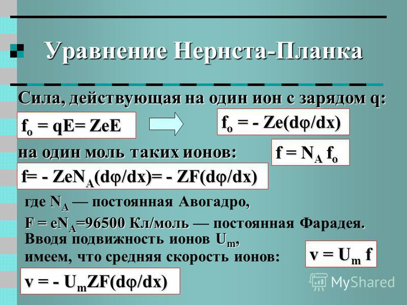 Уравнение Нернста-Планка Сила, действующая на один ион с зарядом q: f о = qE= ZeE f о = - Ze(d /dx) на один моль таких ионов: f= - ZeN A (d /dx)= - ZF(d /dx) f = N A f о N A, где N A постоянная Авогадро, F = eN A =96500 Кл/моль. F = eN A =96500 Кл/мо