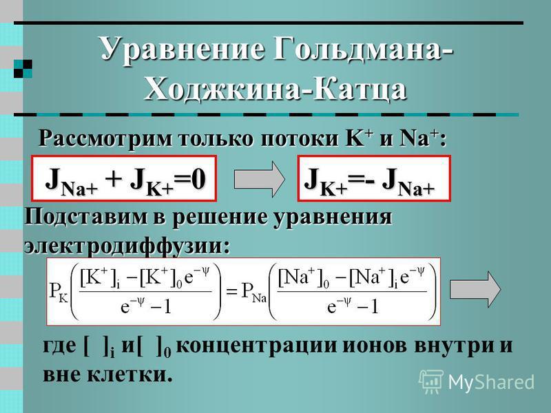 Уравнение Гольдмана- Ходжкина-Катца Рассмотрим только потоки K + и Na + : J Na+ + J K+ =0 J Na+ + J K+ =0 Подставим в решение уравнения электродиффузии: J K+ =- J Na+ где [ ] i и[ ] 0 концентрации ионов внутри и вне клетки.