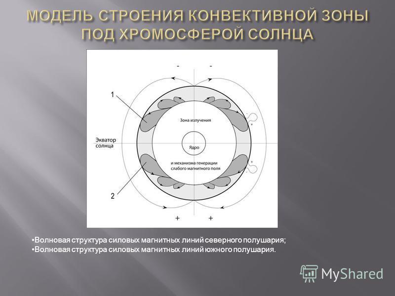Волновая структура силовых магнитных линий северного полушария; Волновая структура силовых магнитных линий южного полушария.