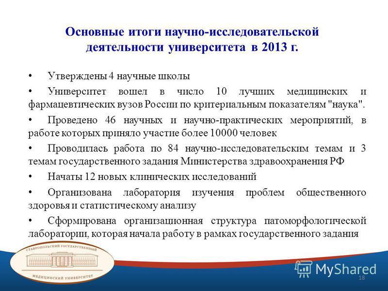 Основные итоги научно-исследовательской деятельности университета в 2013 г. Утверждены 4 научные школы Университет вошел в число 10 лучших медицинских и фармацевтических вузов России по критериальным показателям