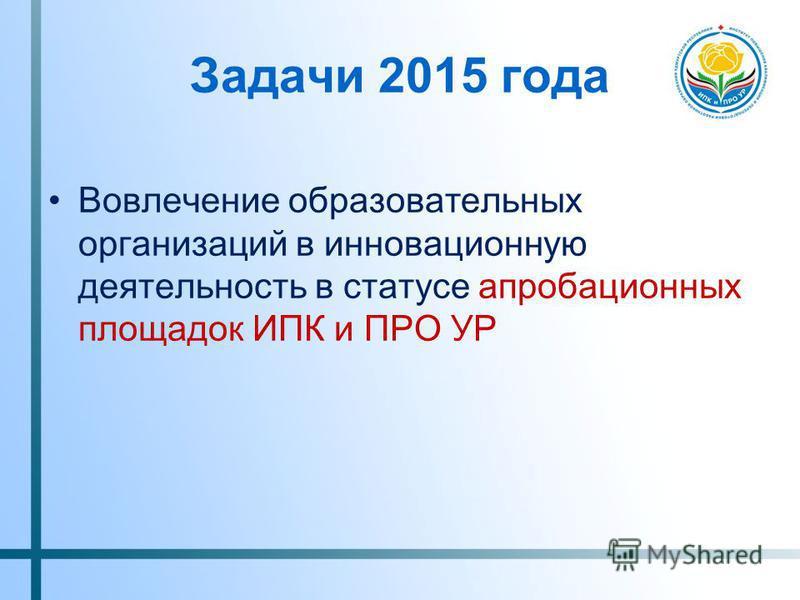 Задачи 2015 года Вовлечение образовательных организаций в инновационную деятельность в статусе апробационных площадок ИПК и ПРО УР