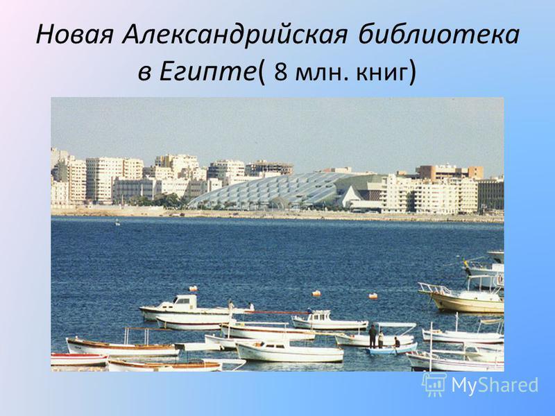 Новая Александрийская библиотека в Египте( 8 млн. книг )