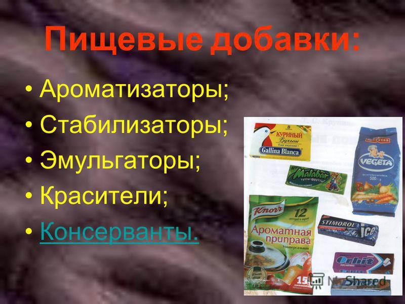 Пищевые добавки: Ароматизаторы; Стабилизаторы; Эмульгаторы; Красители; Консерванты.