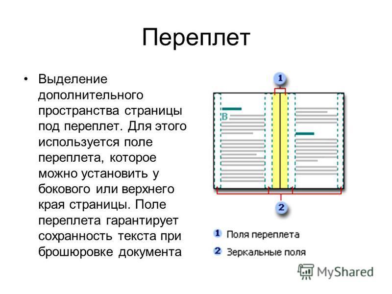 Переплет Выделение дополнительного пространства страницы под переплет. Для этого используется поле переплета, которое можно установить у бокового или верхнего края страницы. Поле переплета гарантирует сохранность текста при брошюровке документа