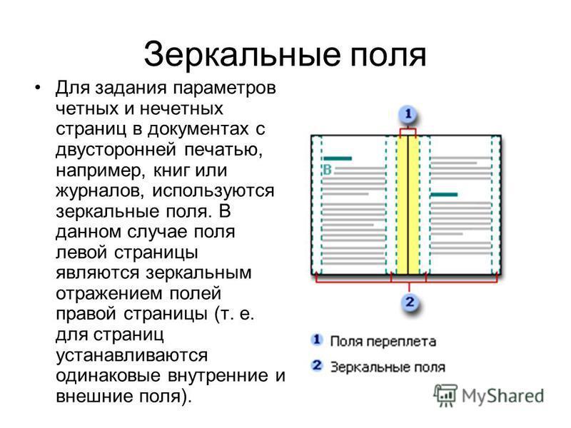 Зеркальные поля Для задания параметров четных и нечетных страниц в документах с двусторонней печатью, например, книг или журналов, используются зеркальные поля. В данном случае поля левой страницы являются зеркальным отражением полей правой страницы