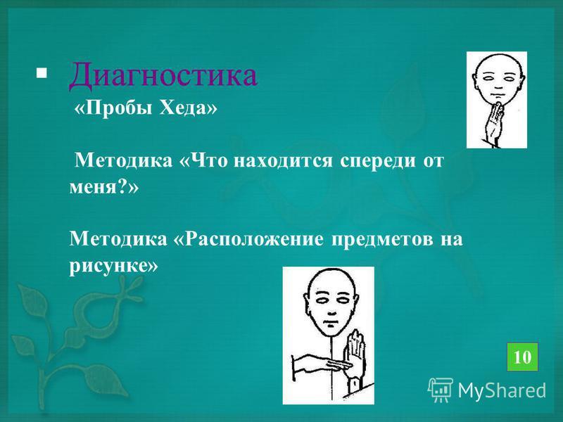 Диагностика «Пробы Хеда» Методика «Что находится спереди от меня?» Методика «Расположение предметов на рисунке» 10