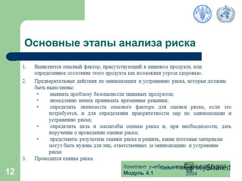 Комплект учебных материалов ФАО/ВОЗ Модуль 4.1 Codex Training Package June 2004 12 Основные этапы анализа риска 1. Выявляется опасный фактор, присутствующий в пищевом продукте, или определенное состояние этого продукта как возможная угроза здоровью.