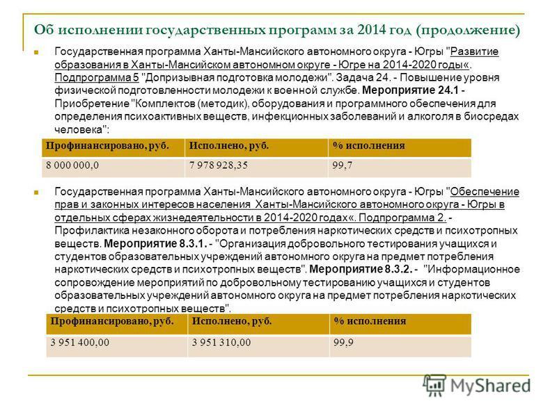 Об исполнении государственных программ за 2014 год (продолжение) Государственная программа Ханты-Мансийского автономного округа - Югры