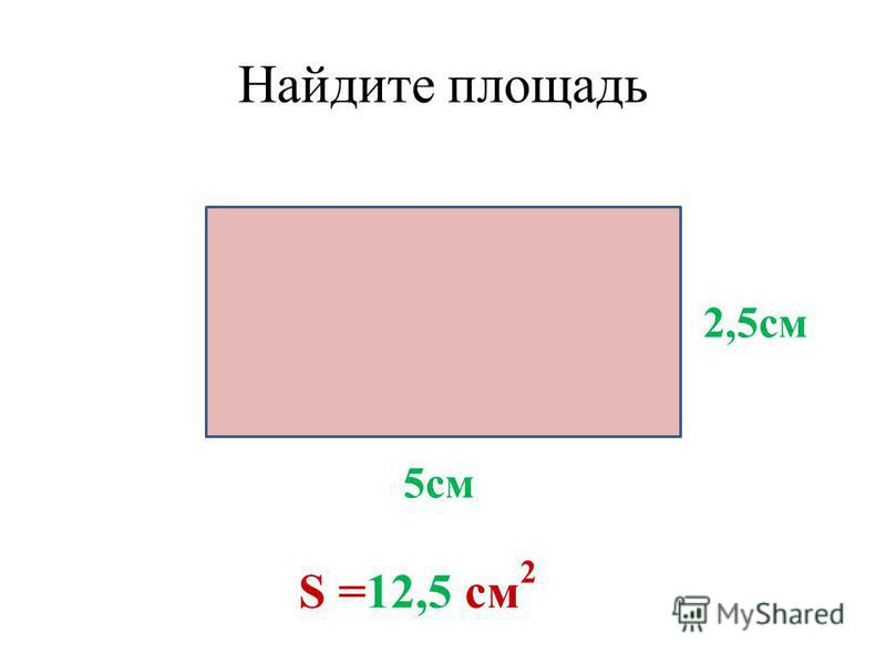Найдите площадь 5 см 2,5 см S =12,5 см 2