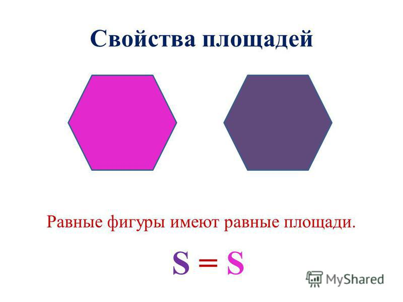 Свойства площадей Равные фигуры имеют равные площади. S = S
