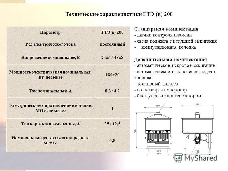7 Технические характеристики ГТЭ (в) 200 ПараметрГТЭ(в) 200 Род электрического тока постоянный Напряжение номинальное, В24±4 / 48±8 Мощность электрическая номинальная, Вт, не менее 180±20 Ток номинальный, А8,3 / 4,2 Электрическое сопротивление изоляц