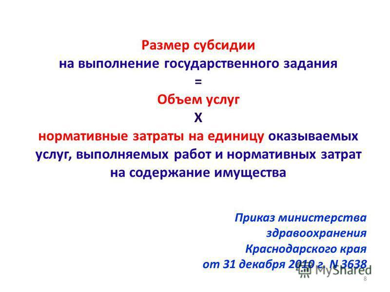 Размер субсидии на выполнение государственного задания = Объем услуг Х нормативные затраты на единицу оказываемых услуг, выполняемых работ и нормативных затрат на содержание имущества Приказ министерства здравоохранения Краснодарского края от 31 дека