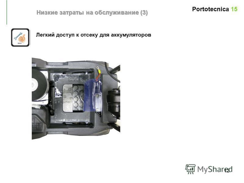 12 Легкий доступ к отсеку для аккумуляторов Низкие затраты на обслуживание (3) Portotecnica 15