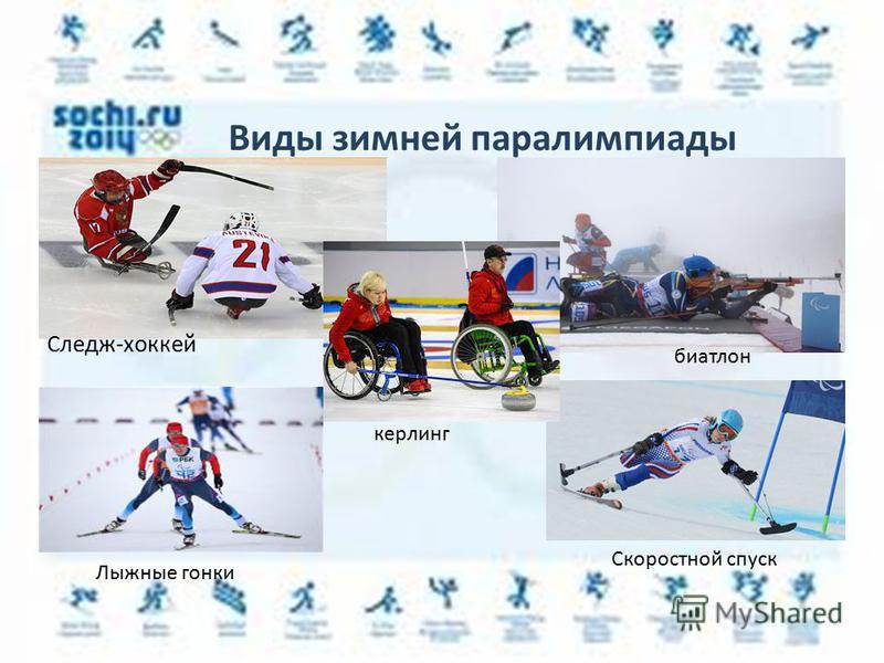 Виды зимней паралимпиады биатлон Следж-хоккей керлинг Лыжные гонки Скоростной спуск