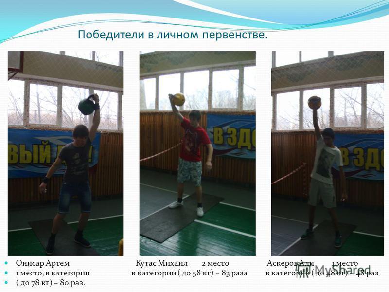 Победители в личном первенстве. Онисар Артем Кутас Михаил 2 место Аскеров Али 1 место 1 место, в категории в категории ( до 58 кг) – 83 раза в категории ( до 48 кг) – 48 раз ( до 78 кг) – 80 раз.