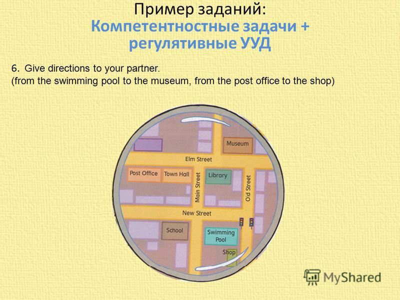 Пример заданий: Компетентностные задачи + регулятивные УУД 6. Give directions to your partner. (from the swimming pool to the museum, from the post office to the shop)