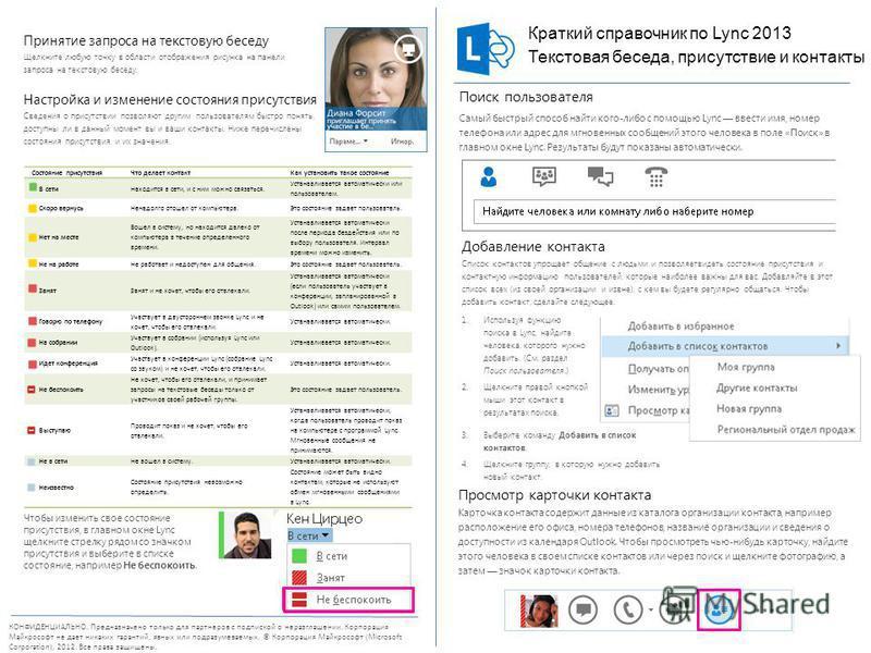 КОНФИДЕНЦИАЛЬНО. Предназначено только для партнеров с подпиской о неразглашении. Корпорация Майкрософт не дает никаких гарантий, явных или подразумеваемых. © Корпорация Майкрософт (Microsoft Corporation), 2012. Все права защищены. Добавление контакта