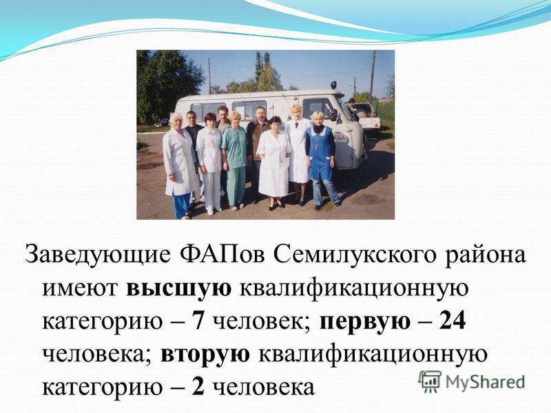 Заведующие ФАПов Семилукского района имеют высшую квалификационную категорию – 7 человек; первую – 24 человека; вторую квалификационную категорию – 2 человека