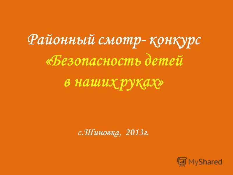 Районный смотр- конкурс «Безопасность детей в наших руках» с.Шиновка, 2013 г.