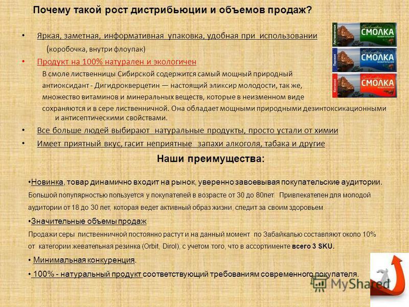 Почему такой рост дистрибьюции и объемов продаж? Яркая, заметная, информативная упаковка, удобная при использовании ( коробочка, внутри флоупак) Продукт на 100% натурален и экологичен В смоле лиственницы Сибирской содержится самый мощный природный ан